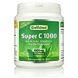 Super C, 1000 mg Vitamin C, hochdosiert, 120 Tabletten, vegan - mit Acerola, Hagebutte und Bioflavonoiden. Für ein bärenstarkes Immunsystem. Schützt die Zellen. OHNE künstliche Zusätze. Ohne Gentechnik. Vegan.