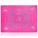 Belmalia XXL Teigmatte aus Silikon, Backmatte 50x40cm für Pizza, Teig, Fondant in Pink