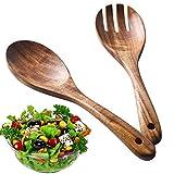 BESTZY 2Stück Holz Salatbesteck, Holz Löffel Gabel...