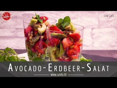 Avocado Erdbeer Salat Low Carb Vorspeise