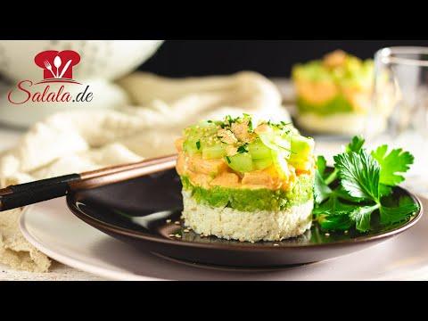 Garnelen-Avocado-Türmchen 🦐 // KETO Rezept // mit Klebereis aus Blumenkohl // Low Carb Mittagessen