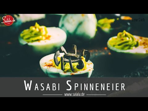 Wasabi Spinneneier gefüllte Eier für deine Halloween Pary Low Carb Rezept