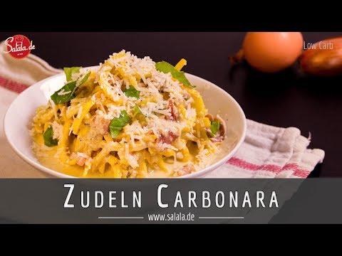 Spaghetti Carbonara Low Carb mit Zudeln