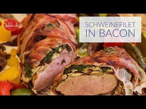 Schweinefilet im Speckmantel mit Champignons und Spinat - Low Carb kochen - salala.de