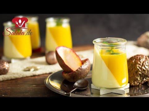 Fruchtiges PANNA COTTA mit MANGO und MARACUJA 🎄 Weihnachtsdessert ohne Zucker I Lower Carb Rezept