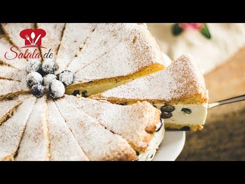 Heidelbeer Käse-Sahne-Torte I Low Carb Rezept mit Bisquit