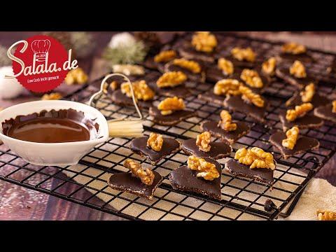 Walnuss Schokoladen Herzen Weihnachtsplätzchen ohne Mehl und ohne Zucker I Low Carb Rezept