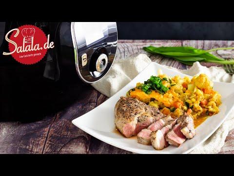Cheddar Blumenkohl mit Nackensteak in der Krups Cook4Me+ Connect I Low Carb Rezept