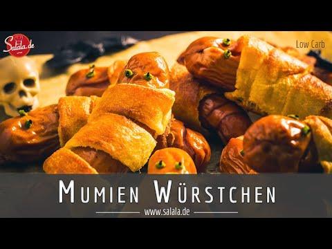 Mumien Würstchen Rezept ohne Blätterteig für deine Halloween Party Low Carb und glutenfrei