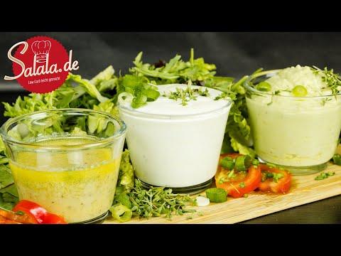 3 verschiedene Salatsoßen schnell zubereitet ohne Zucker I Low Carb Salatdressing Rezept