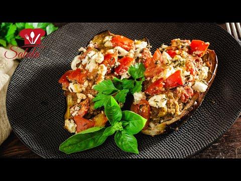 Auberginenschiffchen 🍆 // LOW CARB Rezept // mit Hackfleisch und Feta überbacken // Mittagessen