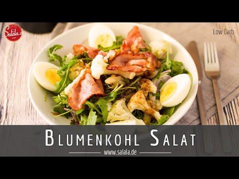 Blumenkohl Salat mit Rucola Bacon und Ei Rezept Low Carb
