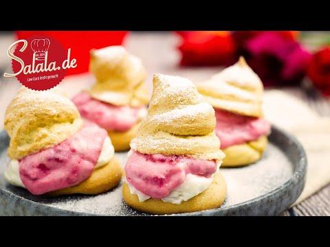 Windbeutel mit Himbeer Frischkäse Füllung I Low Carb Rezept zum Valentinstag