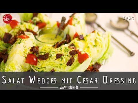 Salat Wedges mit Cesar Dressing Rezept Low Carb ohne Zucker