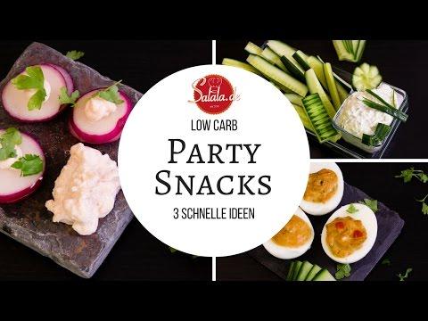 3 Partysnacks - gefüllte Eier - Radieschen Sandwich mit Lachscreme - Gemüsesticks mit Gurkendip
