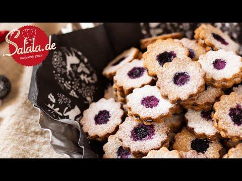 Spitzbuben Plätzchen mit Marmelade I Hildatörtchen Rezept ohne Mehl und ohne Zucker Low Carb Weihnac