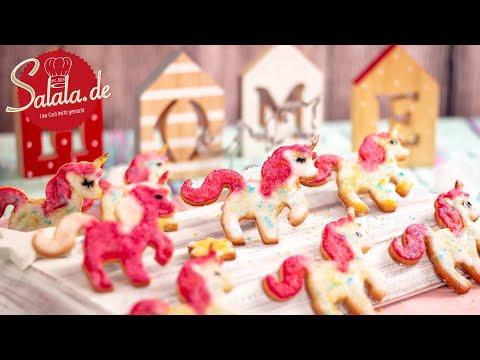 Einhornplätzchen I Einhornkekse ohne Zucker und ohne Mehl I Weihnachtsplätzchen I Low Carb Rezept