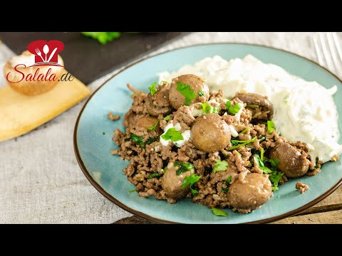 🍄 KETO Champignon Hackfleisch Pfanne schnelles Rezept mit Kohlrabi Dip