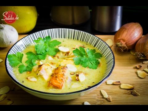 Chicorée Creme Suppe mit Stremellachs - Low Carb Hauptgericht