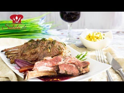 Lammkarree mit Rotweinsoße und Lauchpüree I Low Carb Rezept zu Ostern