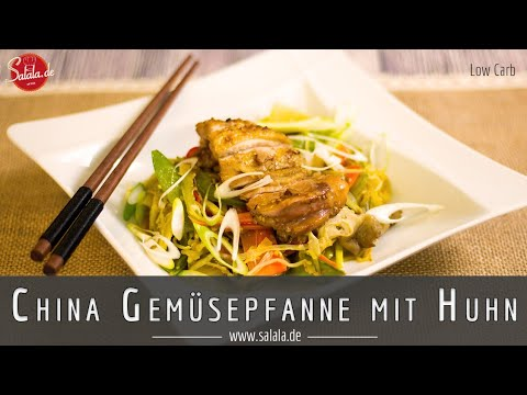 Chinesische Gemüsepfanne mit Huhn Rezept Low Carb glutenfrei salala de