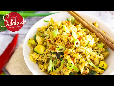 Gebratener Blumenkohlreis mit Ei und Zucchini I vegetarisches Low Carb Rezept