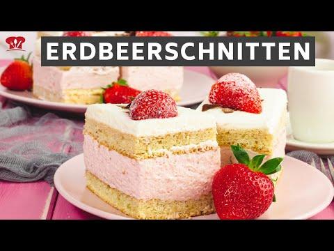 Erdbeerschnitten 🍓 // KETO Rezept zum Muttertag // Low Carb Erdbeerkuchen mit Sahne und Biskuit