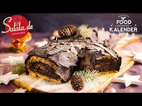 Bûche de Noël Rezept ohne Mehl und Zucker I Low Carb Weihnachtskuchen als Dessert