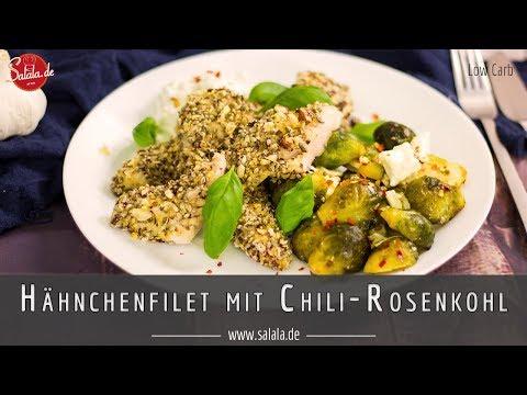 Hähnchenfilet mit Chili Rosenkohl Rezept ohne Mehl Low Carb und glutenfrei