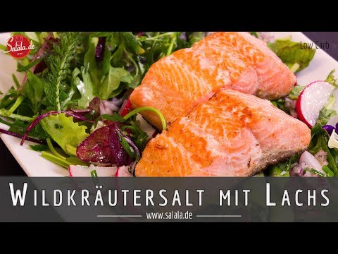 Wildkräutersalat mit Spargel und Lachs - Low Carb Salat Rezept