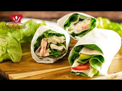 Keto WRAPS zum Mitnehmen mit Salat, Pute und Schinken I Low Carb und Keto Rezept