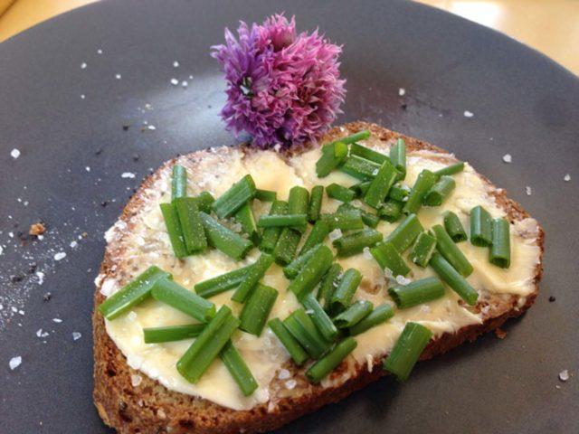 Chia-Leinsamen-Hüttenkäse-Brot mit Schnittlauch