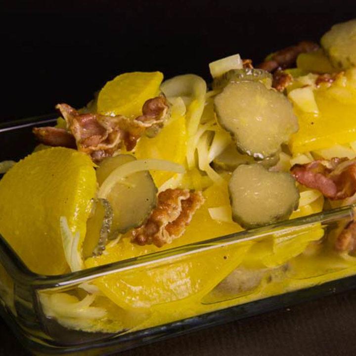 falscher Kartoffelsalat Low Carb und glutenfrei Rettichsalat mit Kurkuma