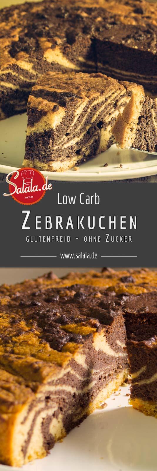 Zebrakuchen Rezept Low Carb backen glutenfrei ohne Mehl salala.de Um einen Zebramuster in den Kuchen zu kriegen muss man eigentlich nicht viel tun: einen fließfähigen Teig bauen, in zwei Hälften teilen und eine Hälfte einfärben.