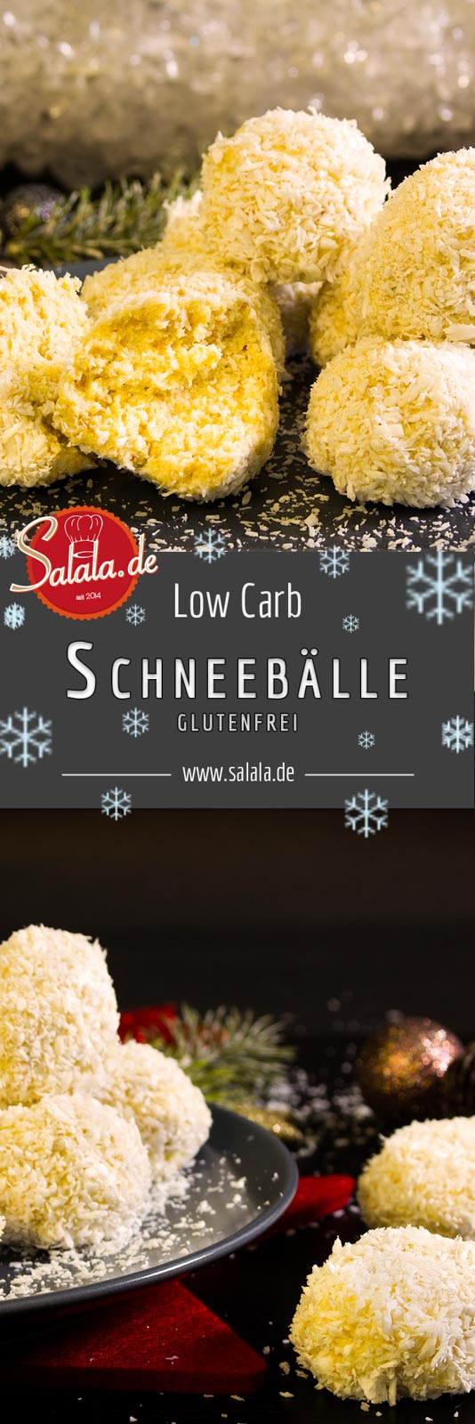 Schneebaelle Low Carb backen Rezept Weihnachtsbäckerei salala.de