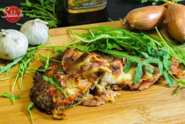 Hackfleisch-Pizza ohne Teig ohne Boden low carb glutenfrei salala.de