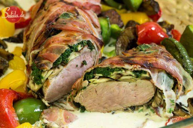 Schweinefilet im Spinat-Champignon-Mantel – low carb und glutenfrei