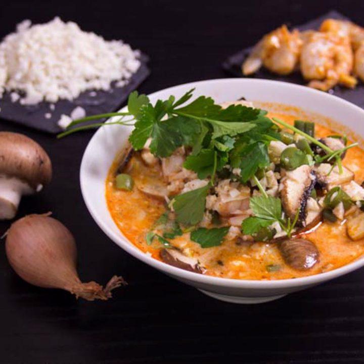 Kokos Blumenkohlreis Garnelen Suppe Lunch im Glas Low Carb Mittagessen buero glutenfrei rezept salala.de