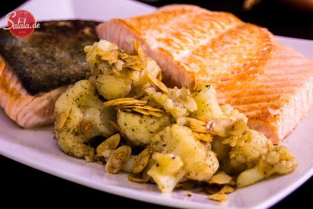 lachsfilet mit mandel-blumenkohl omega-3 fettsäuren artikel bedarf gehalt low carb glutenfrei salala.de
