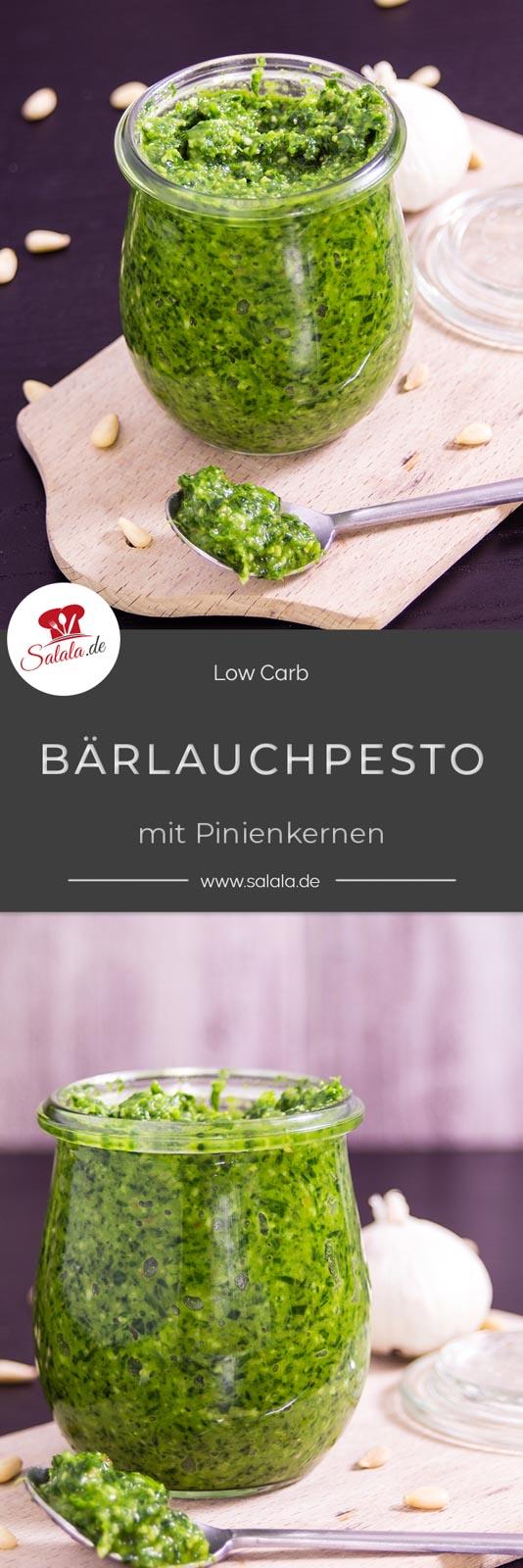 Bärlauchpesto mit Pinienkernen und Parmesan I Low Carb Rezept von salala.de  #Pesto #Bärlauch #Bärlauchpesto #Pestoohnezucker #pestomitPininenkernen