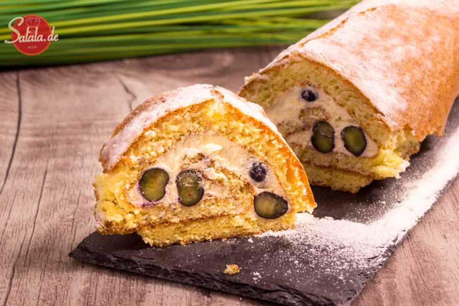 Biskuitrolle mit Heidelbeeren – low carb und glutenfrei