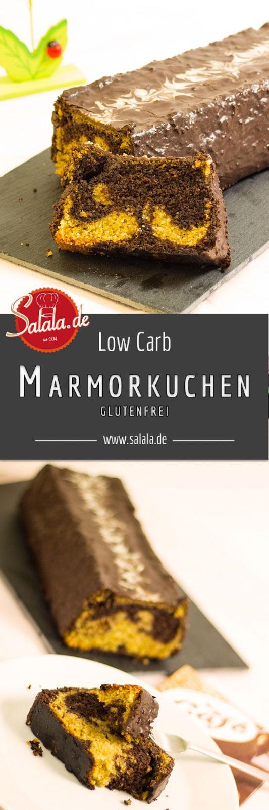 Marmorkuchen low carb, glutenfrei, zuckerfrei, mehlfrei - salala.de - Lockerer und saftiger Marmorkuchen ohne Schnickschnack