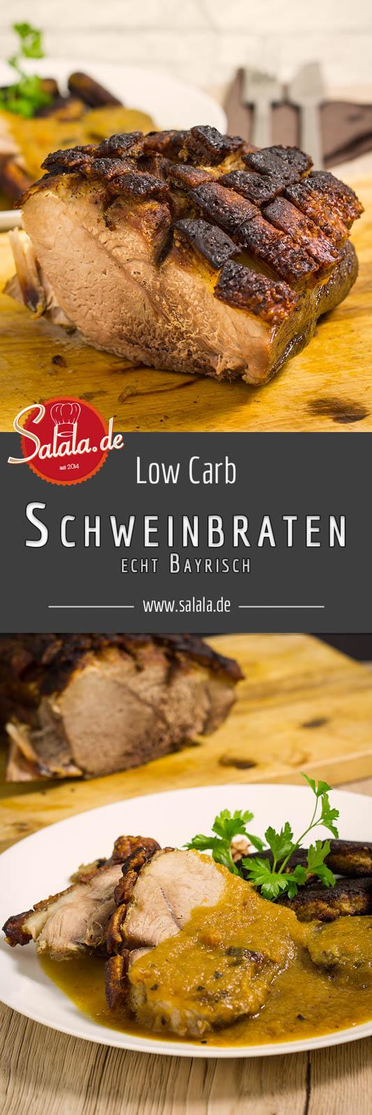 Bayerischer Schweinebraten mit Kruste Rezept - by salala.de - Low Carb kochen, Low Carb auf bayrisch, Schweinebraten, Krustenbraten, knusprig und mit himmlischer Sauce