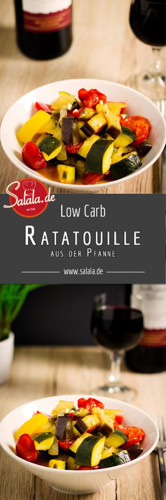 Ratatouille - französische Küche - low carb und vegetarisch - by salala.de   Schmorgemüse Gemüsefpanne Zucchini Paprika Aubergine Tomaten