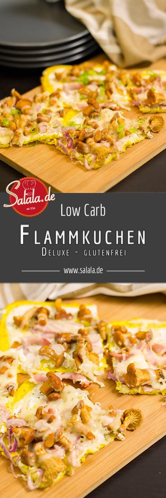 Flammkuchen Deluxe Rezepte - by salala.de - mit Pfifferlingen und Bergkäse Low Carb und glutenfrei