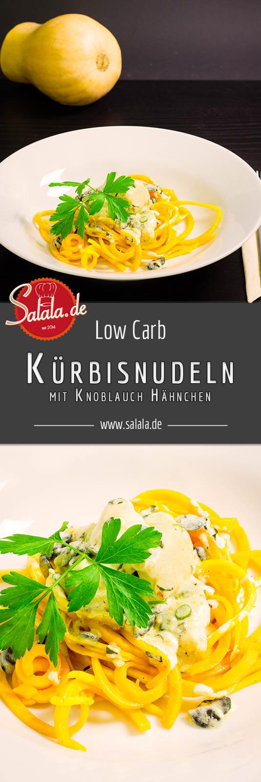 Kürbisnudeln mit Knoblauch Hähnchen Low Carb Pasta Rezept - by salala.de - Butternuss Kürbis low carb cremig Sahnesoße Knoblauch lecker und aromatisch