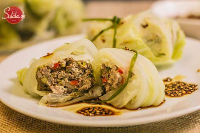 Gefüllte Chinakohlröllchen low carb - by salala.de - Schweinefilet, Sesam, Sojasauce Asiatisch glutenfrei