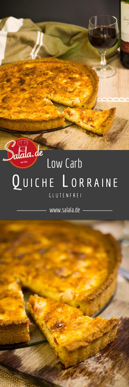 Quiche Lorraine low carb und ohne Mehl - by salala.de - low carb Mürbeteig ohne Mehl glutenfrei Eier Speck Sahne