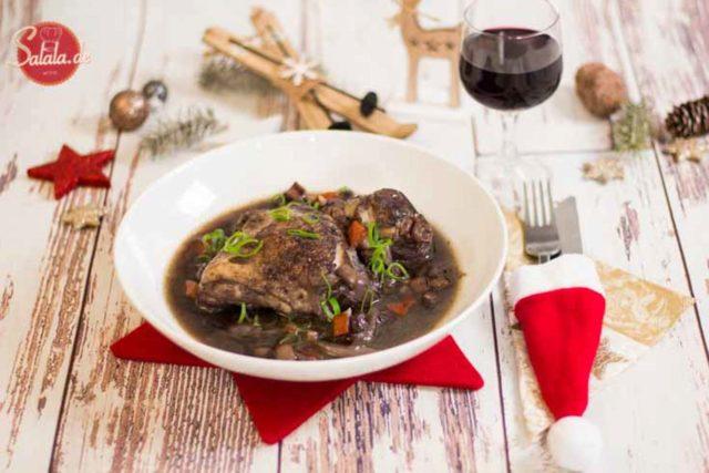 Coq au vin low carb - by salala.de - Huhn in Weinsauce ohne Mehl, glutenfrei, französische Küche, Weihnachtsmenü
