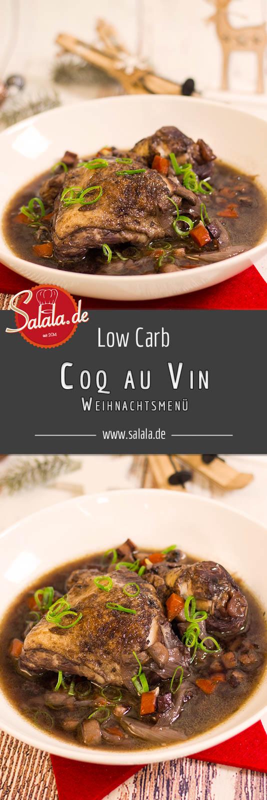 Coq au vin low carb - by salala.de - Huhn in Weinsauce ohne Mehl, glutenfrei, französische Küche, Weihnachtsmenü, Champignons, Speck